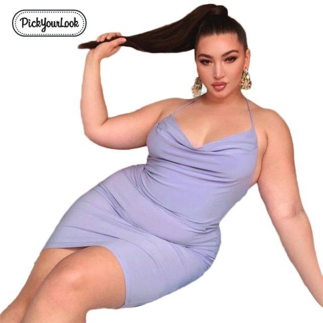 Pickyourlook Female Mini Dress Plus Size Sexy Club Solid Purple Women Dress Sleeveless Summer Spaghetti Strap Large Lady Vestido