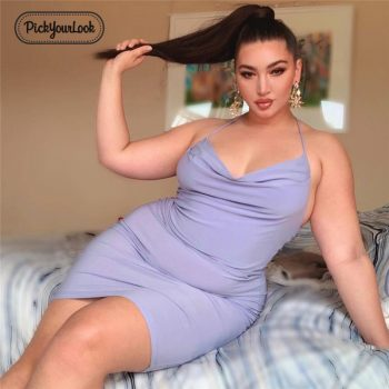 Pickyourlook Female Mini Dress Plus Size Sexy Club Solid Purple Women Dress Sleeveless Summer Spaghetti Strap Large Lady Vestido
