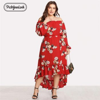 Pickyourlook Plus Size Lady Maxi Dress Bohemian Vintage Floral Women Dress Long Sleeve Autumn Beach Wedding Party Female Dress