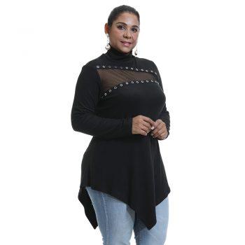Irregular Women BLouses Autumn Winter Hollow Out Lace blusas poleras mujer de moda 2019 Vintage Plus Size Womens   chemise D30