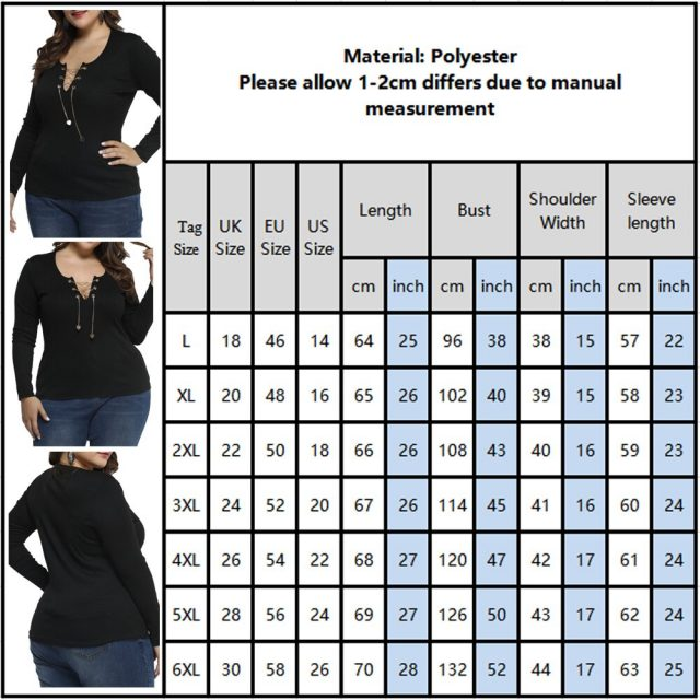 Plus Size Women T-shirt Sexy Hollow Out Black Tee Shirts Tops For Ladies Large Size V Neck Chain Decor Female Solid Camiseta D30