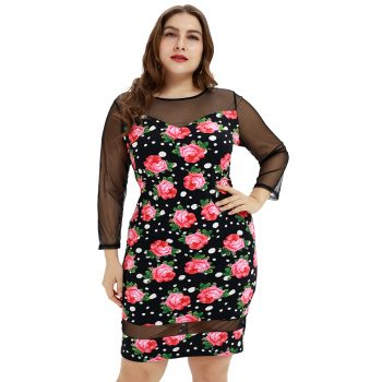2019 Woman Plus size Lace Dress 5xl Large Big Size Fashion Women Autumn Sexy long Sleeve Printing Casual Party Dress D30