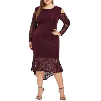 Plus Size Ladies Lace Dress Elegant Women Off Shoulder Bodycon Dress For Evening Party Large Size Female Slim Fit Dresses D40