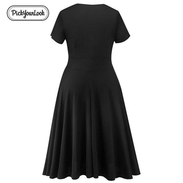Lady Plus Size Midi Dress Solid Black Purple Large Size Women Dress Short Sleeve Summer Party Wedding Female Dress D40
