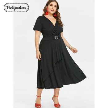 Lady Plus Size Midi Dress Solid Black Purple Large Size Women Dress Short Sleeve Summer Party Wedding Female Dress D40