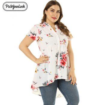 Floral High Waist Women Plus Size Chiffon Blouse Short Sleeve V Neck Female Causal Work Shirts Femme Spring Blouses D30
