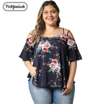 Pickyourlook Floral Print Women Plus Size Chiffon Blouse Short Sleeve Slash Neck Female Causal Work Shirts Femme Summer Blouses