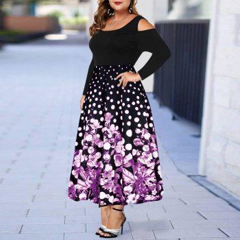 Plus Size Women Dress Floral Printed Off Shoulder Dress Large Size Ladies Evening Party Maxi Dress Elegant Female Vestidos D40