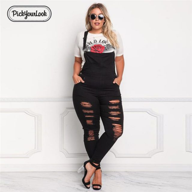 Pickyourlook Women Jumpsuit Large Size Solid Denim Plus Size Backless Long Jumpsuit Vintage Slim Streetwear Black Hollow Waist
