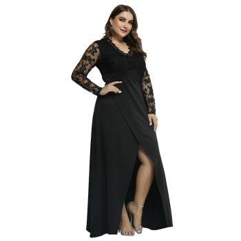 Plus Size Ladies Mesh Lace Dress Elegant Women Split Maxi Dress For Evening Party Large Size Female V Neck Slim Fit Dresses D40