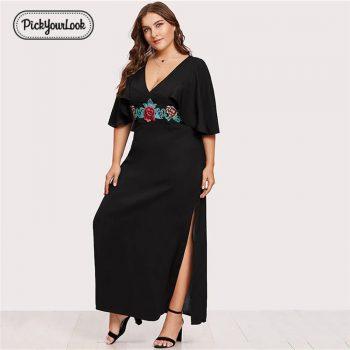 Pickyourlook Plus Size Women Dress Summer Black Large Maxi Dress For Female Embroidered Deep V Short Sleeve Robe Femme Vestidos