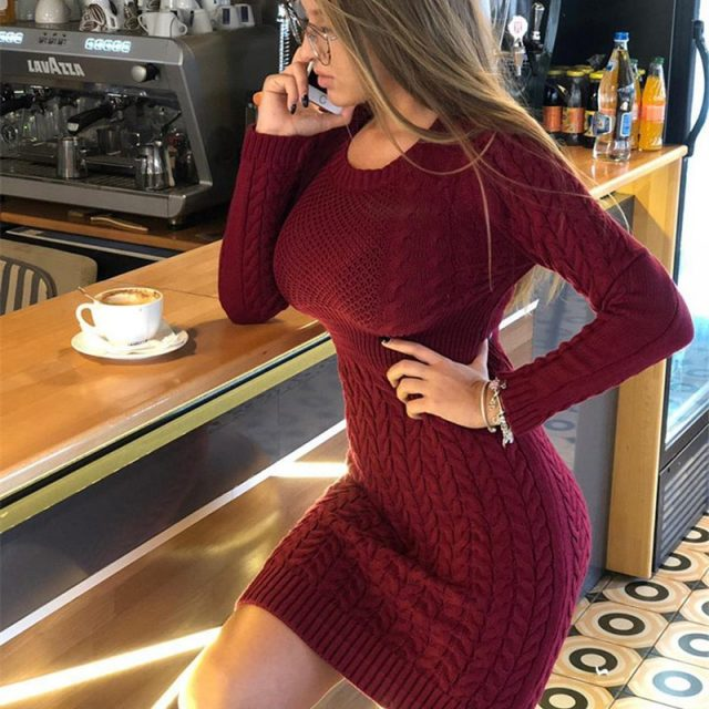 RUGOD New Autumn Winter Sweater Dress Women Fashion Hollow Out Knitted Dress Multi Color Twist Pattern Bodycon Dress Plus Size