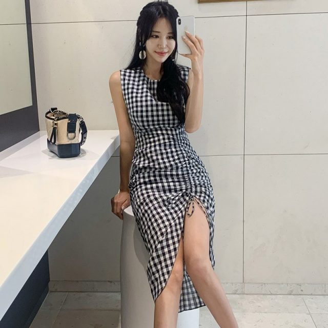 women korean elegant plaid maxi dress tank sleeveless O-neck female sexy asymmetrical wrap dresses mid-calf length vestidos