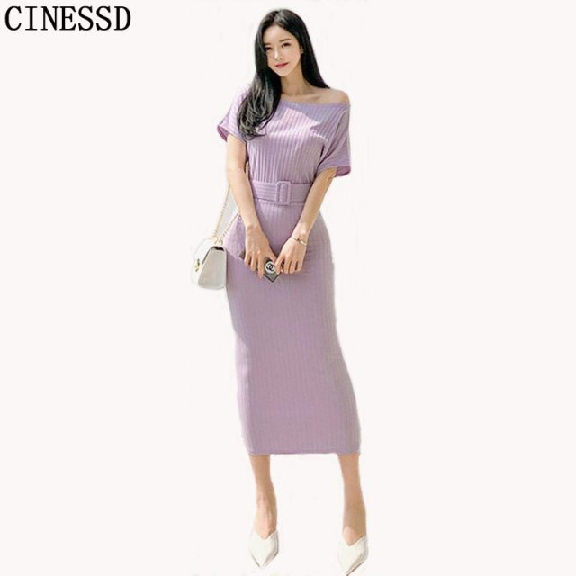 CINESSD Women Long Maxi Dress 2019 Cotton Summer Solid Bodycon Dress with Slash Neck Mid-calf Package Hip Tunic Dress