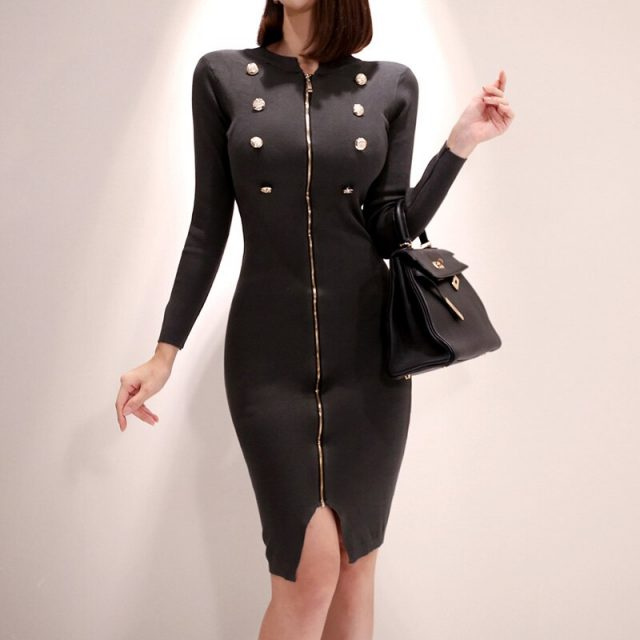 CINESSD Sexy Knitted Bodycon Dress For Women Autumn Winter Cotton Black Round Neck Long Sleeve Fall Formal Dresses With Zipper
