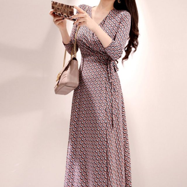 CINESSD Vintage Loose Beach Long Maxi Dress For Autumn Polyester Geometric V-neck Mid Sleeve Wrap Casual Dress