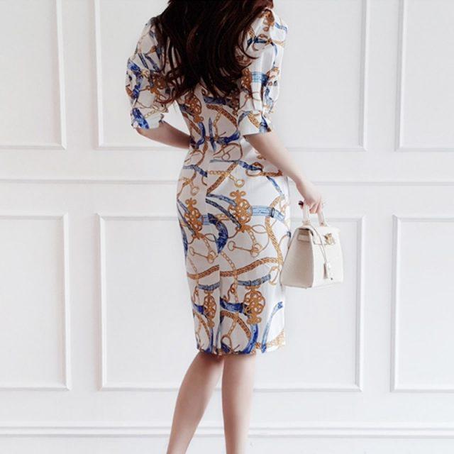 CINESSD Vintage Hip Chiffon Dress 2019 Women Summer Elegant Print with O-neck Short Sleeve Sexy Polyester Knee-length Dress