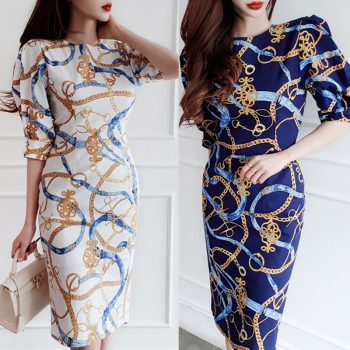 CINESSD Vintage Hip Chiffon Dress 2019 Women Summer Elegant Print with O-neck Short Sleeve Sexy Polyester Knee-length Dress