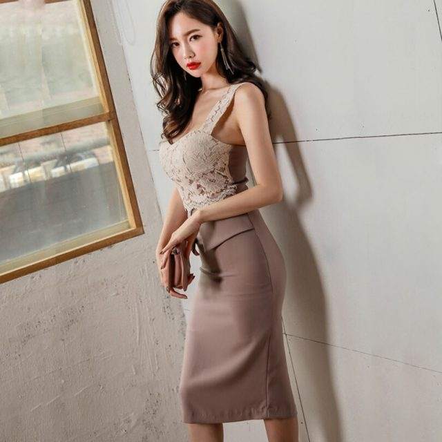 CINESSD Lace Bodycon Dress for woman Korean Pink Split Sleeveless V Neck summer female sling Sexy Party Dresses vestido de fiest
