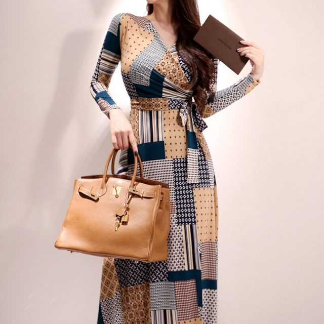 CINESSD The Vintage Loose Long Maxi Dress 2019 Women Autumn Elegant Geometric V-Neck Full Boho Beach Robe Dress Vestidos Plus