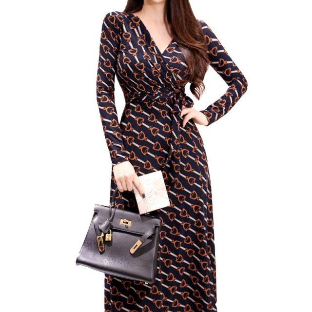 CINESSD Vintage Robe Loose Boho Dresses For Autumn Polyester Elegant Print Temperament V-neck Long Sleeve Fall Wrap Party Dress