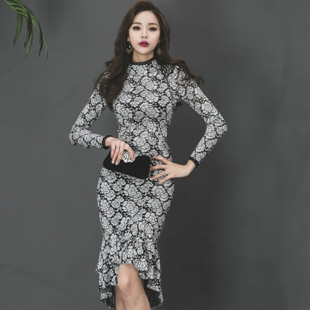CINESSD vintage dress for woman Lace Long SLeeve elegant flower print stand robe vestidos winter female retro Mermaid Dress plus