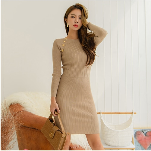 CINESSD Sweater Dresses For Women elastic Formal Dress Long Sleeve Cotton knitted O neck Hip Mini wedding guest  Vestidos