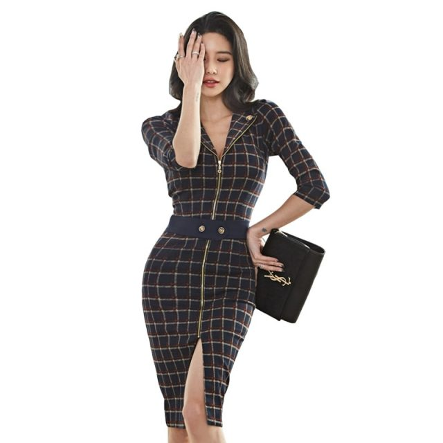 CINESSD Plaid Dress for woman half sleeve notched with zipped midi Hip pencil vestidos sexy female formal Office Dresses
