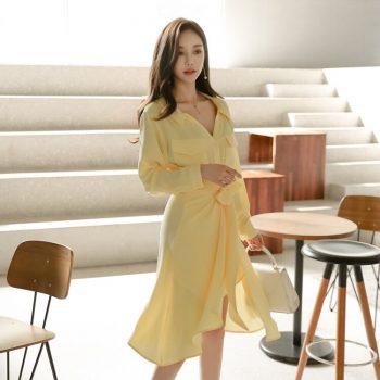 CINESSD The Sexy Vintage Robe Dress Women Autumn Linen Yellow Elegan Notched Long Sleeve Empire Shirt Dress Vestidos Plus Size