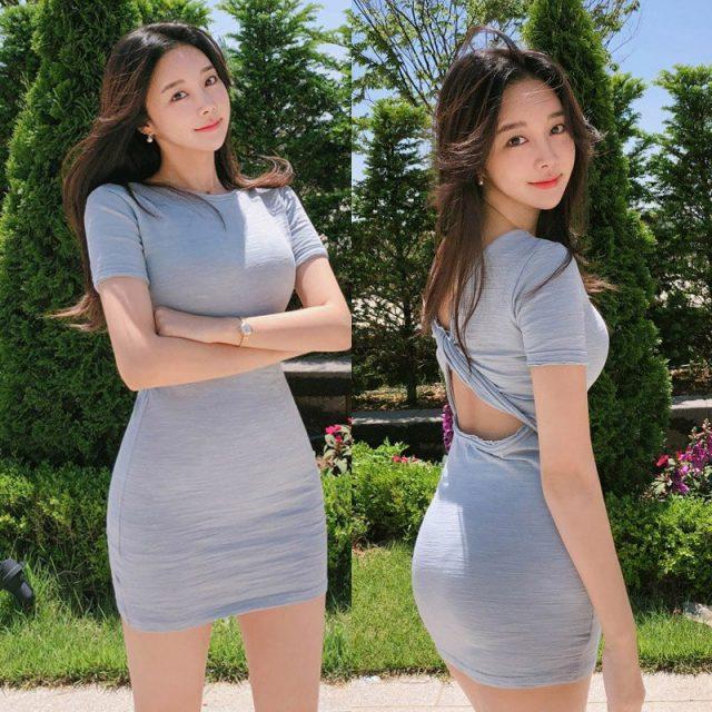 Women summer new wear korean temperament solid with o-neck Open back natural casual mini bag hip sheath dress
