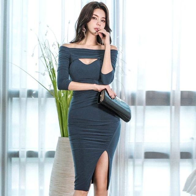 CINESSD navy blue dress for women Off shoulder Half Sleeve Summer Cotton Female hollow out kaftan homecoming tight dresses
