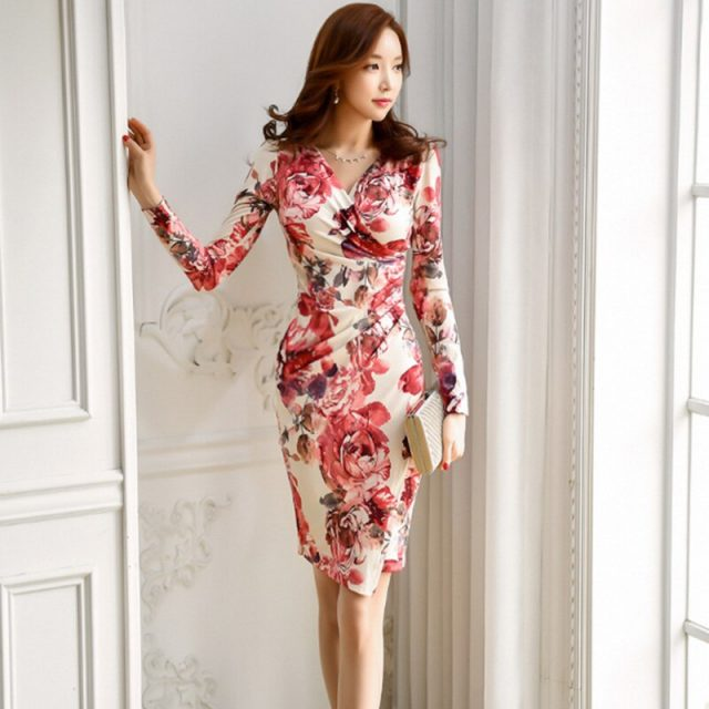 Women autumn new wear OL temperament print v-neck long sleeve natural knee-length pencil office lady package buttocks dress