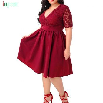 Jaycosin Womens Summer Sexy Lace Dress Ladies Plus Size Deep V-neck Fit And Flare Dress With Pocket Fashion Vestidos Verano New