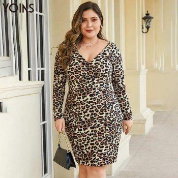 YOINS Sexy Vintage Leopard V-neck Long Sleeve Wrapped Bodycon Dress 2019 Women Mini Dresses Female Party Vestidos Plus Size Lady