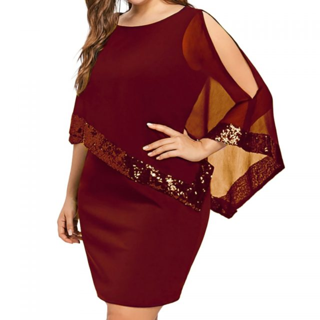 JAYCOSIN Summer Dress Women Plus Size Irregular Sequin Stitching off-shoulder Chiffon Crew Neck Sexy Dress Women 2019 Vestidos