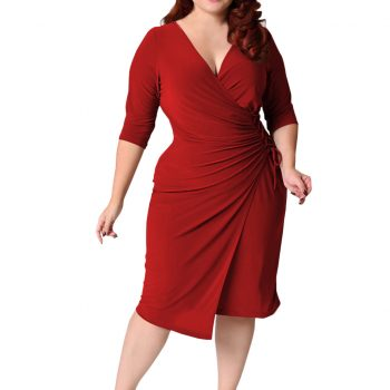 JAYCOSIN Women Dress Elegant Plus Size Ladies Large Size Solid Color Half Sleeve Deep V Straps Waist Pocket Hip Dress Vestidos