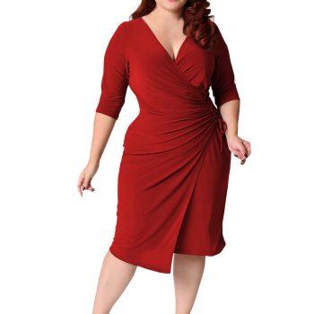 JAYCOSIN Women Dress Elegant Plus Size Ladies Large Size Solid Color Half Sleeve Deep V Straps Waist Pocket Hip Dress Vestidos