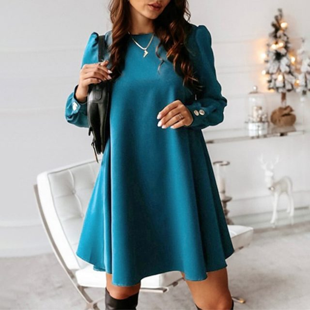 Women Back Metal Buttons O-neck Shirt Mini Dress Autumn Long Sleeve Elegant A-Line Female Dress 2020 Spring Lady Dress Plus Size