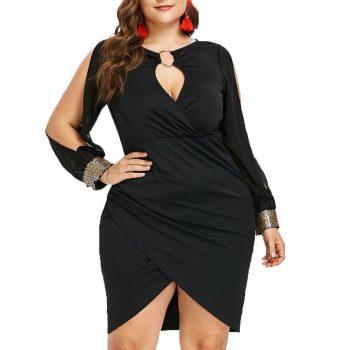 Plus Size Women Long Sleeve Sequin Dress Fashion Keyhole Neck Ring Slit Evening Party Bodycon Ladies Dress Vestidos Derss Fiesta