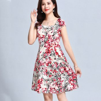 2019 New summer Vintage Floral Print Elegant Short Sleeve square Neck Casual A Line Dress Plus Size L-5XL YY517