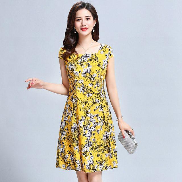2019 New summer Vintage Floral Print Elegant Short Sleeve square Neck Casual A Line Dress Plus Size L-5XL YY517