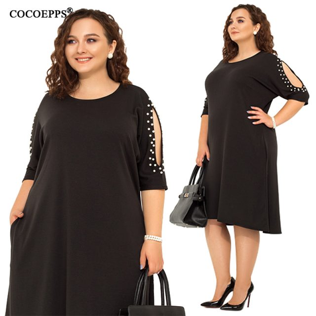5XL 6XL 2019 Big Size Women Loose Dress Spring Plus Size Summer Casual Dress Sexy Hollow out Lady Elegant Party Large Size Dress