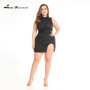 Lan Karswear 2019 Bodycon Dresses Sleeveless Sexy Club Plus Size Women party clothes XXXL XXL XL Vestidos