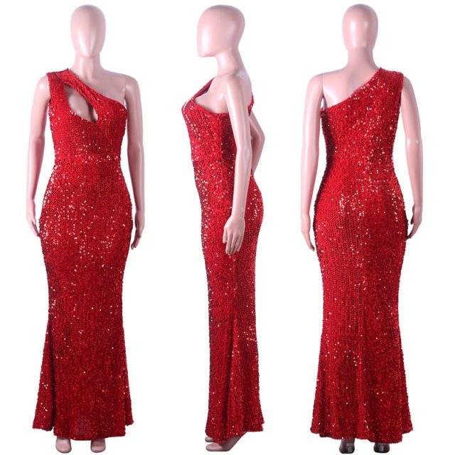 Echoine Women Party Dress Sexy Sparkle Glam Sequin Dazzling One-shoulder Elegant Mermaid Long Dresses Nightclub Female Vestidos