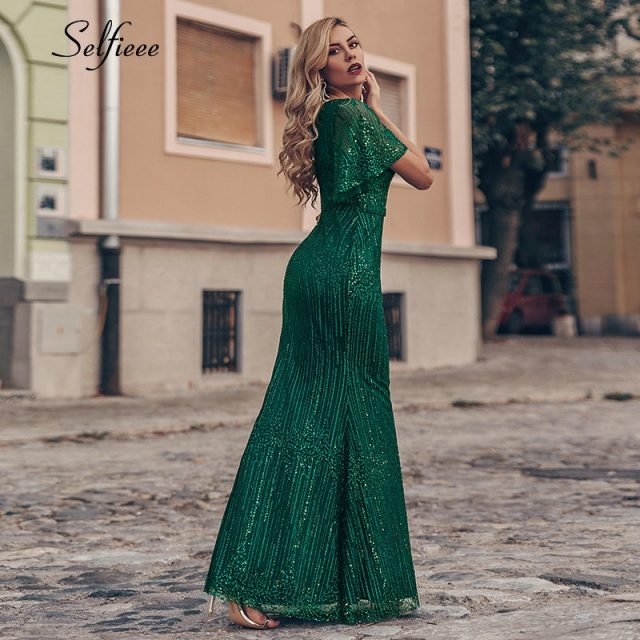 Sexy Sparkle Maix Dress For Women Short Sleeve V-Neck Sequined Ladies Evening Party Dress Elegant Bodycon Dress Robe Femme 2019