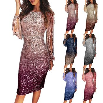 Mayata Gradient Color Sequin Tassel Sleeve Bodycon Dress for Woman Party Night Sexy Ladies Sparkle Tight Ombre Dresses S-2XL