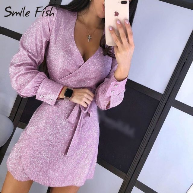 Sexy Glitter Kimono Bandage Mini Dress Women Wrap V-neck Sparkle Night Club Dress Femme Fashion Shining Party Dress Robe GV963