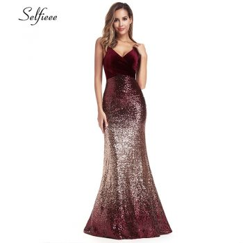 Sequined Burgundy Women Dresses Spaghetti Straps V-Neck Elegant Sparkle Maxi Dresses Woman Party Night Dresses Robe Femme 2019
