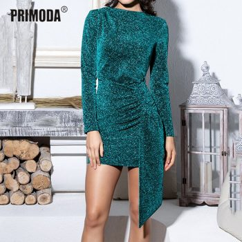 2019 New Sparkle Sliver Dresses Elegant Lady Shining Sexy Bodycon Club Party Mini Irregular Bandage Dress Draped Backless PR204L