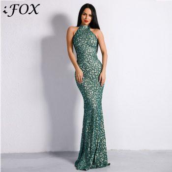 IFox 2020 Charming Halter Neck Sleeveless Women Dress Fashion Green Color Appliques Zipper Back Dress with Train